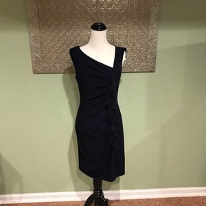 Suzi Chin for Maggy Boutique Navy Ruffle Dress